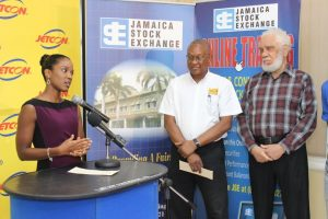 Sanya Goffe addressing the audience at the listing of Jetcon's shares in March.